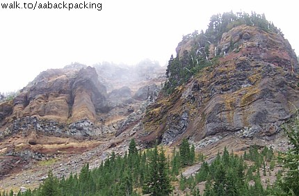 colorful cliffs near Three Fingered Jack